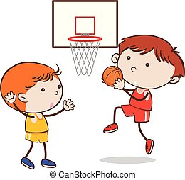 Doodle Kid Playing Basketball on White Background