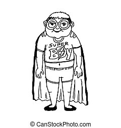 doodle kid super hero cartoon icon hand draw illustration design