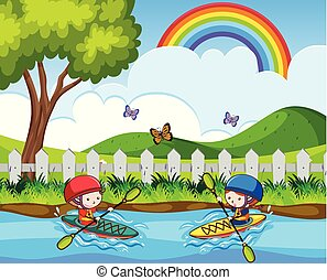 Doodle kids Canoeing in the River