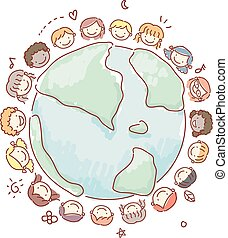 Doodle Kids Face Earth