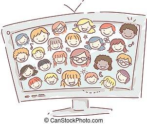 Doodle Kids Face House Screen