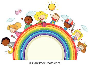 Doodle kids on the rainbow