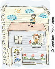 Doodle Kids Playing House