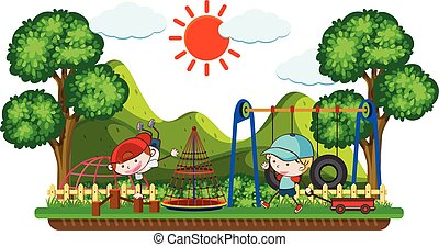Doodle Kids Playing in Playground