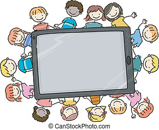 Doodle Kids Tablet - Doodle Illustration of Kids Surrounding...