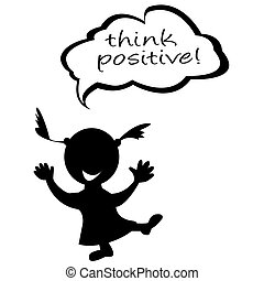 Doodle kids with speech bubble with message think positive
