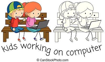 Doodle kids working on computer