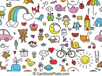 doodle, kinderachtig, seamless