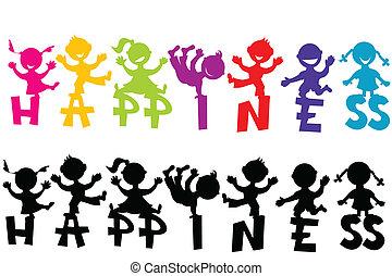 doodle, kinderen, geluk, tekst