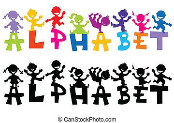doodle, kinderen, met, alfabet, brieven