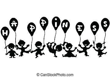doodle, kinderen, met, ballons
