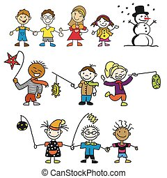 Doodle Kindergarten Kids with Latern, Mother and Snowman