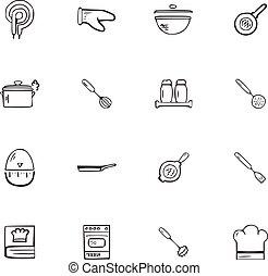 Doodle Kitchen accessories icons set