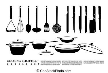 Doodle Kitchen Equipment Set - Doodle kitchen equipment set...