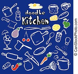 doodle kitchen, food icons, vector
