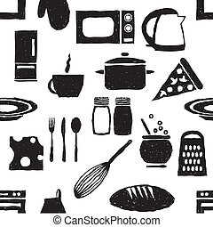doodle kitchen seamless pattern
