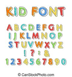 doodle, kleurrijke, alfabet