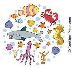 doodle, koło, chorągiew, morskie zwierzę