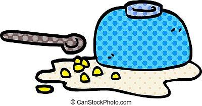 doodle, kom, spotprent, graan, spilt