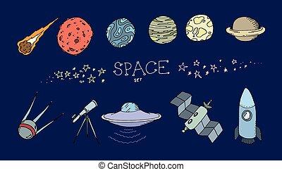 doodle, komplet, barwny, przestrzeń