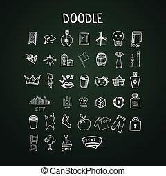 doodle, komplet, chalkboard, ikony