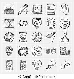 doodle, komplet, internet, sieć, ikona