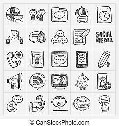 doodle, komplet, komunikacja, ikony