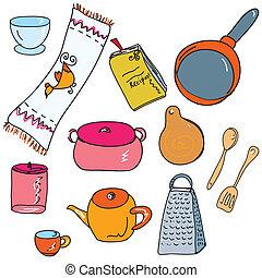 doodle, komplet, kuchnia, accesories