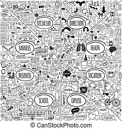 doodle, komplet, mega, ikony