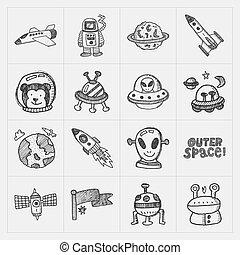 doodle, komplet, przestrzeń, ikona, element