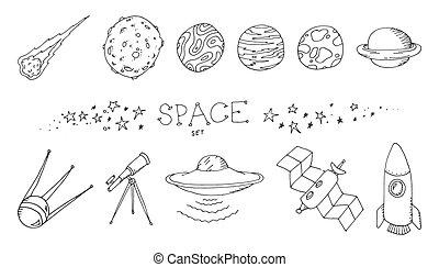 doodle, komplet, przestrzeń
