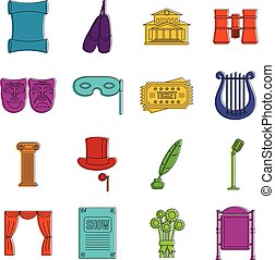 doodle, komplet, teatr, ikony