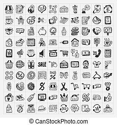 doodle, komplet, zakupy, ikony