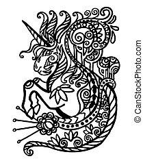 doodle, kontur, enhjørning