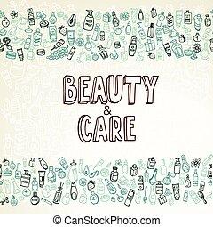 doodle, kosmetikker, baggrund, self-care