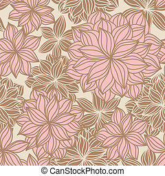 doodle, kwiatowy, seamless, próbka