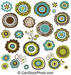 doodle, kwiaty, komplet