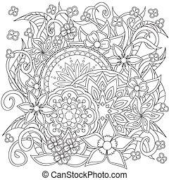 doodle, kwiaty, mandalas