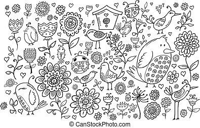 doodle, kwiaty, ptaszki, komplet, wektor