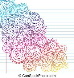 doodle, kwiaty, wektor, szkic