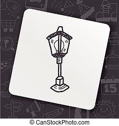 doodle, lâmpada, rua