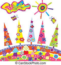 Doodle landscape with colored cartoon elements