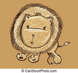 doodle, leão, vetorial, arte, esboço