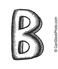 doodle letter B, vector design