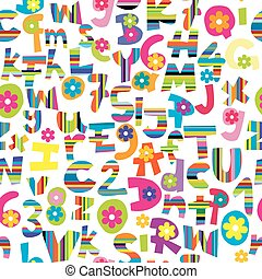 Doodle letters and numbers seamless