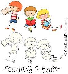 doodle, lezende , kinderen, boek