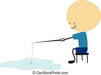 Doodle little boy fishing