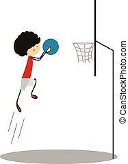 Doodle Little boy Play Basketball