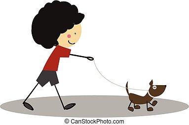 Doodle Little boy walking with dog