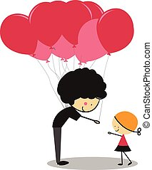 Doodle Little Girl and Balloons